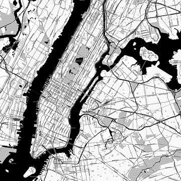 Kaart van New York in stripboekstijl van