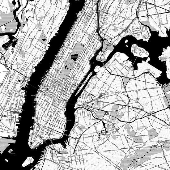 Kaart van New York in stripboekstijl van Creatieve Wereldkaarten