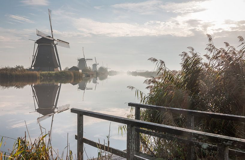 Molens Kinderdijk in de herfst van Mark den Boer