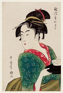 Traditionelle japanische Frau beim Servieren in einem Teehaus von Utamaro Kitagawa von Studio POPPY
