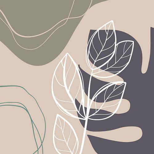 Bladeren, beige grijs groen