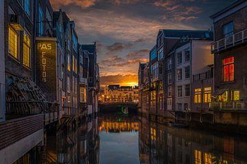Zonsondergang in Dordrecht von Rob Bout