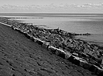 Basaltblokken op waddendijk, Terschelling von Rinke Velds