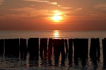 Sonnenuntergangs strand Zoutelande von MSP Canvas