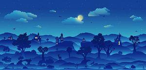 Sprookjesland bij nacht van