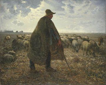 Herder die zijn kudde verzorgt, Jean-François Millet