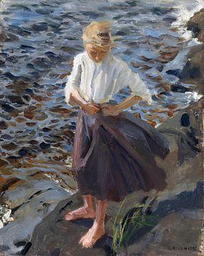 Akseli Gallen-Kallela, Een meisje dat in de wind staat, 1893 van Atelier Liesjes