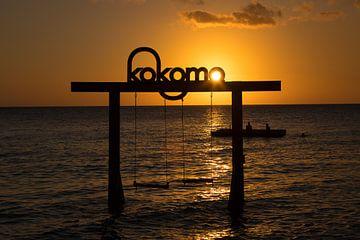 Sunset Curacao van Gertjan Hesselink