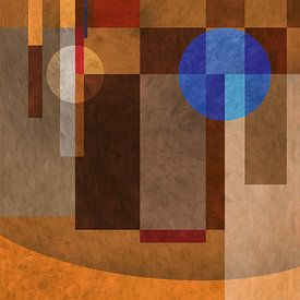 Abstractie 1 blauw oranje van Everards Photography