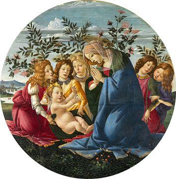 Botticelli - Madonna verehrt das Kind mit fünf Engeln
