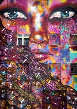 Graffiti gezicht. van Ton Bijvank