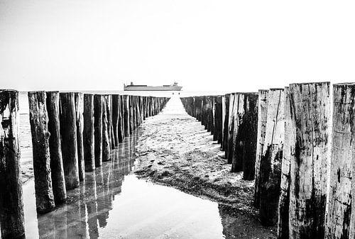 Palen in zee bij strand Zoutelande, Zeeland, schip vaart voorbij