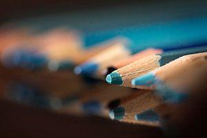 Blauwe potloodpunt van