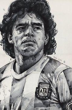 Diego Maradona Malerei von Jos Hoppenbrouwers
