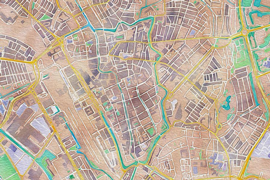 Kleurrijke kaart van Utrecht centrum