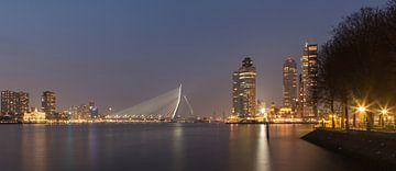 Zicht op Erasmusbrug en kop van Zuid in Rotterdam. van Arjan van Dam