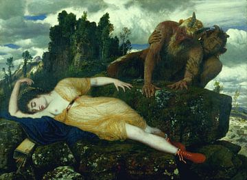 Arnold Böcklin, Diana schlafend, beobachtet von zwei Faunen - 1885 von Atelier Liesjes