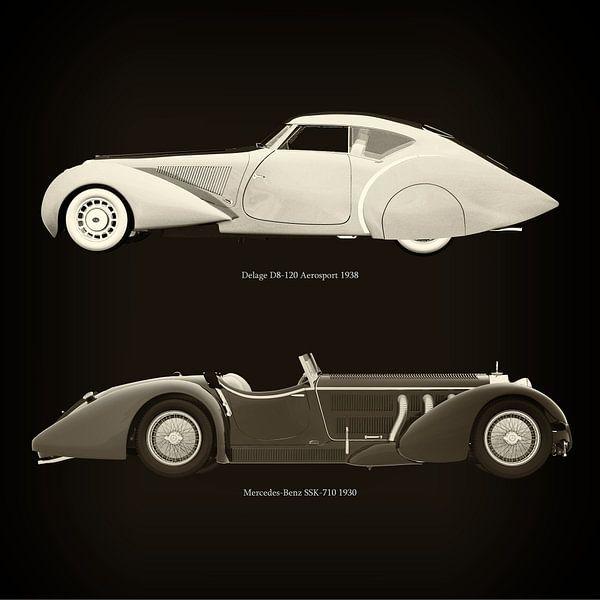 Delage D8-120 Aerosport 1938 en Mercedes-Benz SSK-710 1930 van Jan Keteleer