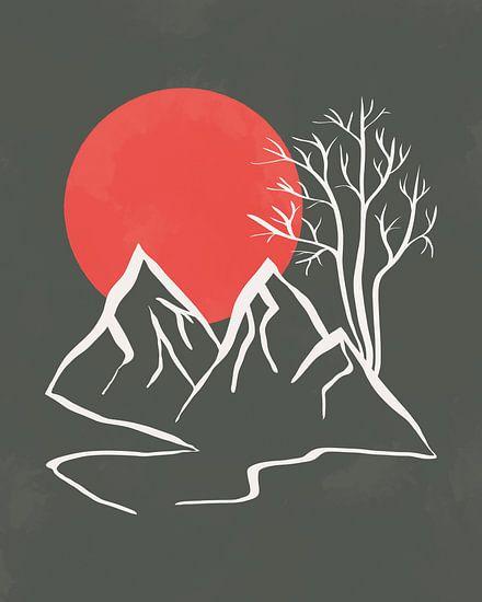 Minimalistisch landschap met bergen, een boom en de ondergaande zon
