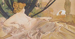 Dageraad Schilderij Liggende Dame Slapende Schoonheid I - Art Nouveau Schilderij Mucha Jugendstil van