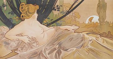 Dageraad Schilderij Liggende Dame Slapende Schoonheid I - Art Nouveau Schilderij Mucha Jugendstil sur