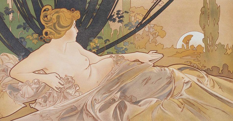 Dageraad Schilderij Liggende Dame Slapende Schoonheid I - Art Nouveau Schilderij Mucha Jugendstil van Alphonse Mucha