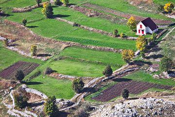 Ein kleines Haus mit einem roten Dach inmitten der smaragdgrünen Alpenwiesen und Steinen weit unten, von Michael Semenov