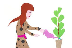 Plantjes water geven met een Olifant van Karolina Grenczyk