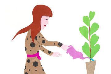 Bewässerung der Pflanzen mit einem Elefanten von Karolina Grenczyk