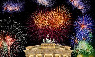 Brandenburger Tor met vuurwerk van Frank Herrmann