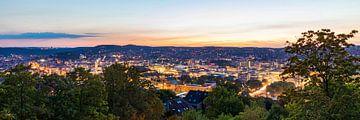 Panorama Stuttgart in de avond van Werner Dieterich
