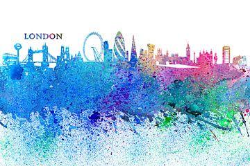 London Skyline Silhouette Impressionistisch van Markus Bleichner