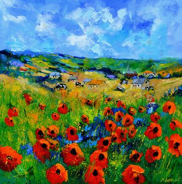 Red poppies in the country side van