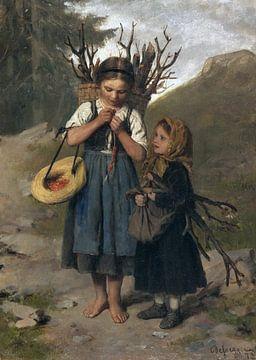 Die kleinen Reisigsammlerinnen, FRANZ VON DEFREGGER, 1872 von Atelier Liesjes