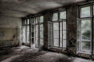 Fenêtre dans un hôpital russe abandonné (couleur) sur Eus Driessen