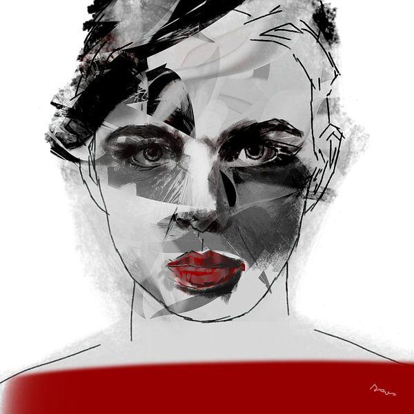 Porträtfrau, Red Label. von SydWyn Art