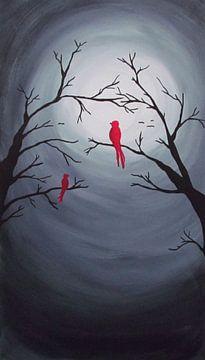 Rote Vögel bei Vollmond