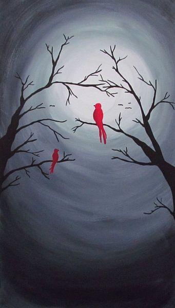 Rote Vögel bei Vollmond von Patricia Piotrak
