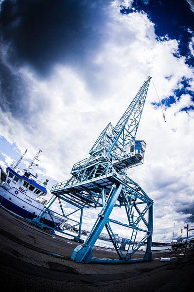 Hijskraan in de haven van Aarhus - Denemarken sur Tony Buijse