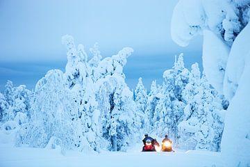 Schneemobile im Lappland, Finnland von Menno Boermans
