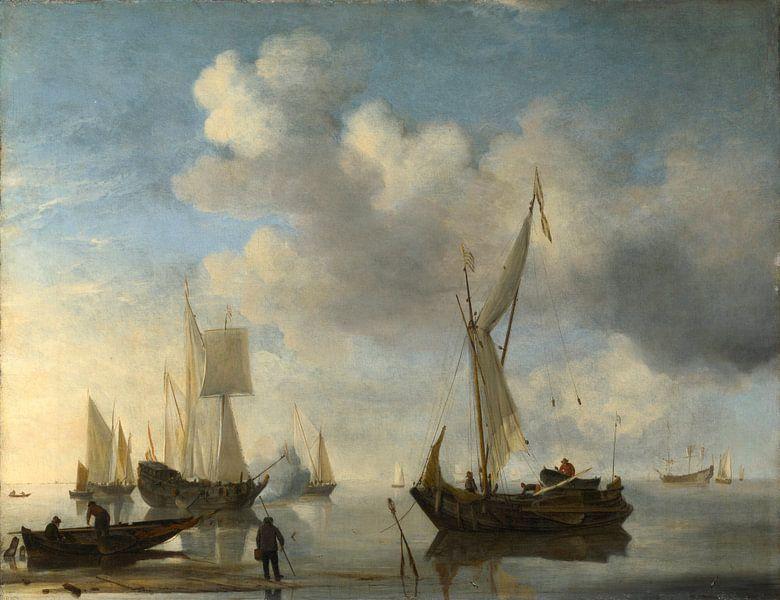 Dutch Vessels lying Inshore in a Calm, one Saluting, Willem van de Velde Willem van de Velde, der no von Meesterlijcke Meesters