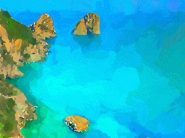 Capri Faraglioni Türkis von Schildersatelier van der Ven