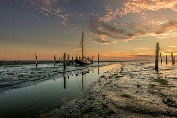 Zonsopkomst Texel droogvallen van John Jansen