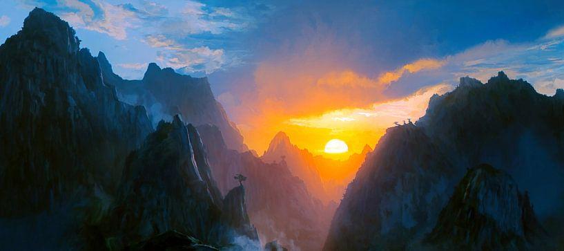 Coucher de soleil dans les montagnes van Angel Estevez