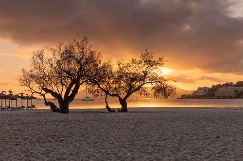 Zonsondergang bij het strand van Santa Ponca