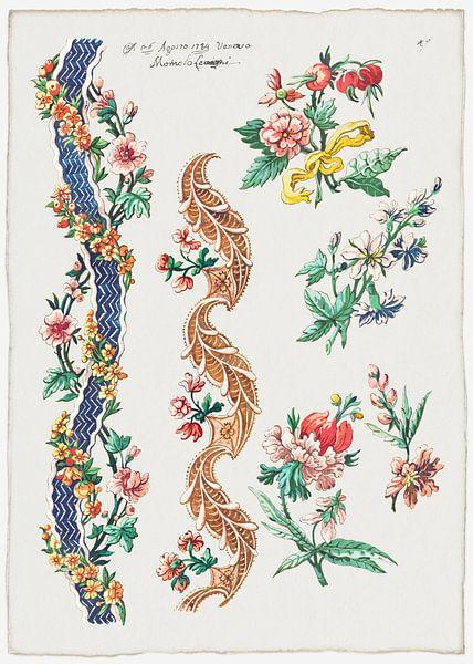 Blumenmuster und Blumenbänder, Giacomo Cavenezia von Meesterlijcke Meesters