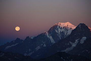 Alpengloed op Mont Blanc van Jan-Thijs Menger