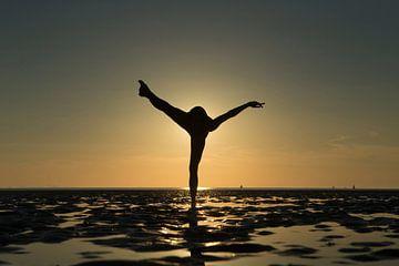 Artistiek naakt op de waddenzee op 1 been in een propeller pose van Arjan Groot