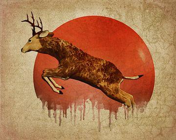 Klimawandel  – Hirsch läuft von Jan Keteleer