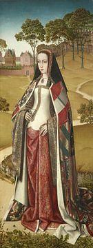 Rechterluik van de Zierikzee-triptiek: Portret van Johanna de Waanzinnige, Meester van het Leven van